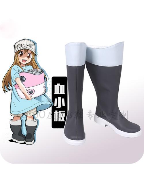 はたらく細胞血小板コス靴イベント仮装高品質コスプレブーツ血小板男女兼用