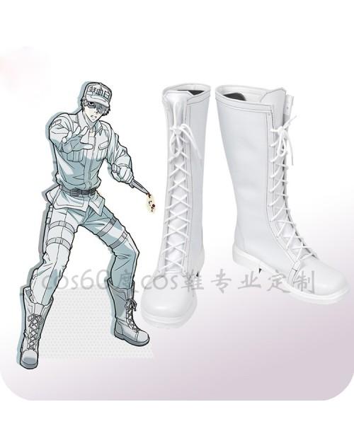 はたらく細胞白血球風コスプレブーツ高品質変装用白血球風コスプレ靴仮装パーティー送料無料
